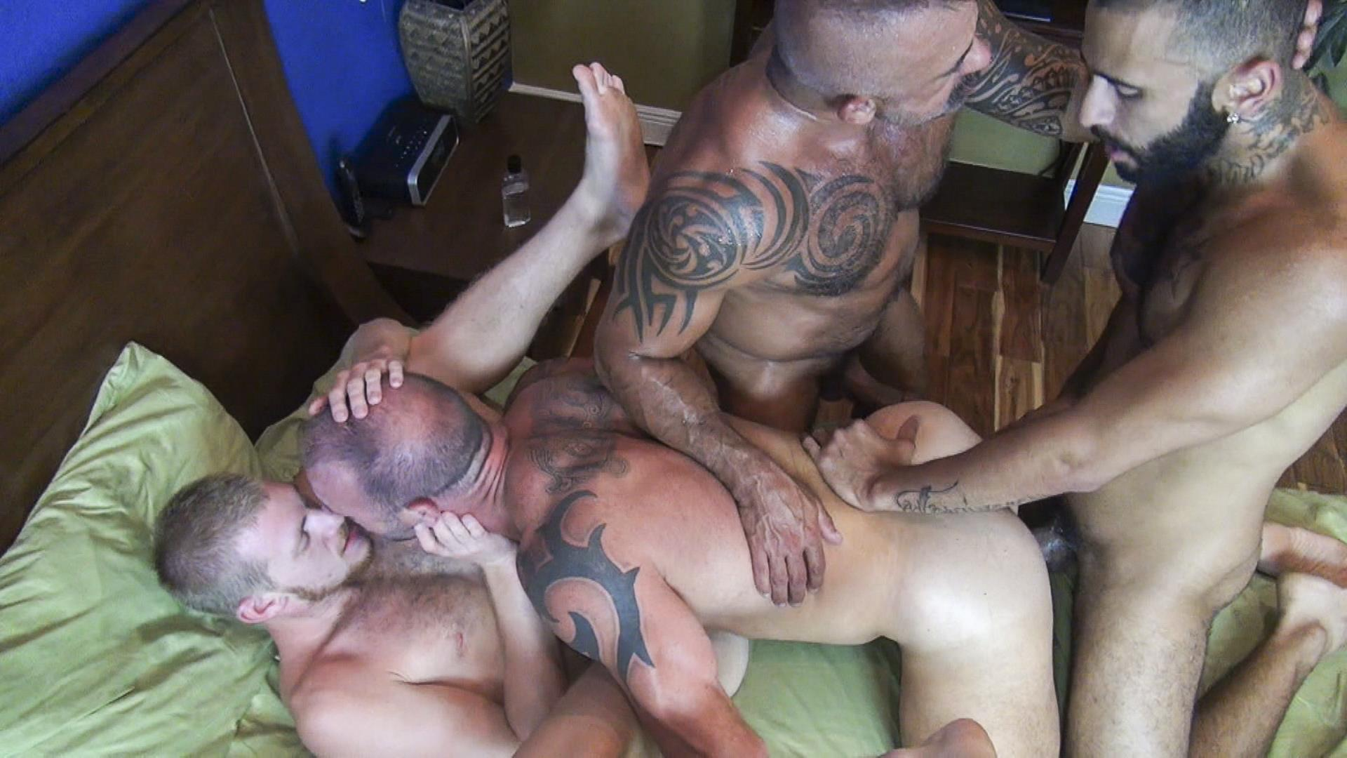 Raw-Fuck-Club-Vic-Rocco-and-Rikk-York-and-Billy-Warren-and-Job-Galt-Bareback-Daddy-Amateur-Gay-Porn-11 Four Hairy Muscle Daddies In A Bareback Fuck Fest Orgy